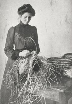 This photograph, probably taken in the or early shows Arizona Swayney, a Cherokee student at Hampton Institute, making a basket. To the right of the photograph are several finished river cane. Native American Cherokee, Native American Beauty, Native American History, Native American Indians, Cherokee Nation, Cherokee Indians, Cherokee Indian Women, Cherokee History, Cherokee Woman
