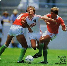 USSR 6 Hungary 0 in 1986 in Irapuato. Aleksandr Zavarov gets sandwiched in the Group C rout #WorldCupFinals