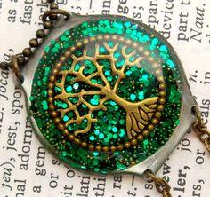 Green Yggdrasil Tree of Life Resin Pendant - Watch Parts & Glitter