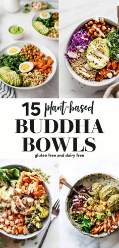 Looking for a buddha bowl recipe? Here are 15 to choose from that are so delicious, gluten free, dairy free, and vegan, Clean Eating Vegetarian, Clean Eating Meal Plan, Vegetarian Recipes Easy, Healthy Salad Recipes, Vegan Vegetarian, Dairy Free Recipes Healthy, Vegan Recipes Healthy Clean Eating, Family Vegetarian Meals, Vegan Bowl Recipes