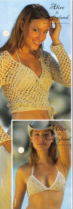 2 Crochet Patterns Wrap Over Top and Bikini Bra French Ebook PDF Modele Cache coeur soutien gorge