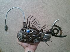 Angler fish scrap metal sculpture by ContrivedCuriosities on Etsy