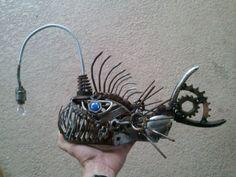 Angler fish scrap metal sculpture by ContrivedCuriosities on Etsy
