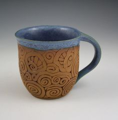 Coil-Built Pottery Mug with Denim Blue Glaze