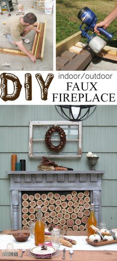 DIY Faux Fireplace : Indoor or Outdoor Want to add texture and a feeling of warmth to your decor? Patio Makeover, Furniture Makeover, Diy Furniture, Outdoor Furniture, Diy Fire Pit, Fire Pit Backyard, Fire Pits, Cool Diy, Indoor Outdoor Fireplaces