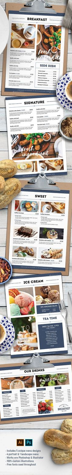 Buy Food Menu Templates by BrandPacks on GraphicRiver. Multipurpose Food Menu Templates This set of multi-purpose food menu templates are ideal for a wide range of resta. Brunch Cafe Menu, Food Menu Template, Menu Templates, Print Templates, Make Ahead Brunch, Menu Layout, Menu Flyer, Vegan Fast Food, Restaurant Menu Design