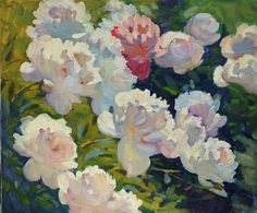 Blooming Peonies, oil on canvas, 50 x 60 cm, (19″ x 23″), #peonies #pleinair