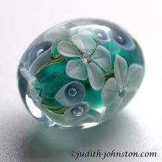 FLORAL GLASS BEAD, Teal & White Lampwork Focal Bead with Cubic Zircona, British Lampwork Handmade by Judith Johnston