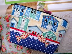 Cotton Make up bag - zipper pouch - beach huts - appliquéd fish. £8.25
