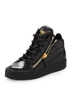 Mirrored Low-Top Zip Sneaker, Black by Giuseppe Zanotti at Neiman Marcus.