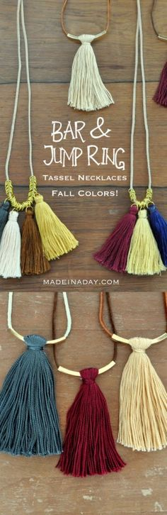 Fall Colors Tassel Necklaces Bar & Jump Ring Tassel Necklaces madeinaday.com