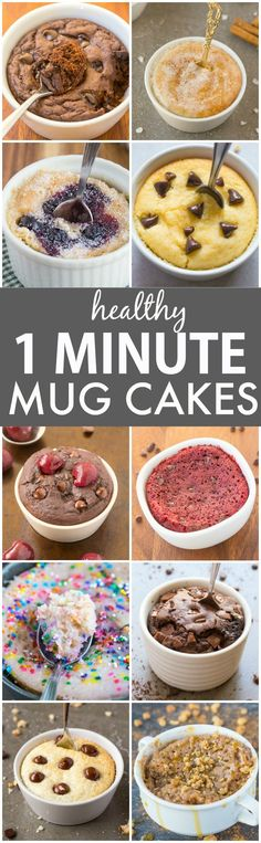 Clean Eating Healthy 1 Minute Mug Cakes Brownies and Muffins (V GF Paleo)- Delicious single-serve desserts and snacks which take less than a minute! Low carb sugar free and more with OVEN options too! Clean Eating Desserts, Köstliche Desserts, Low Carb Desserts, Eating Healthy, Low Carb Recipes, Dessert Recipes, Paleo Recipes, Lunch Recipes, Easy Recipes