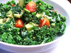 Classic Kale Avocado Salad - The Raw Vision Kale Avocado Salad, Raw Food Recipes, Vegetables, Healthy, Raw Recipes, Veggies, Vegetable Recipes