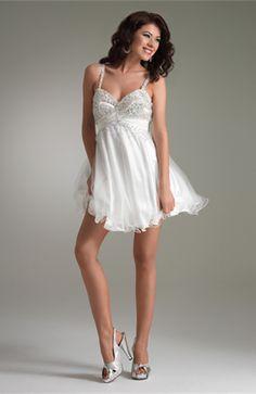 Modest Spaghetti Baby Doll Sleeveless Tulle Mini Prom Dress