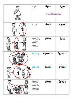ρηματα ΕΙΜΑΙ-ΕΧΩ Greek Language, Speech And Language, First Grade Activities, Book Activities, School Lessons, Lessons For Kids, Learn Greek, Teaching Methods, Greek Words
