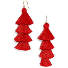 Women's Baublebar Gabriela Fringe Earrings (€33) ❤ liked on Polyvore featuring jewelry, earrings, accessories, red, baublebar, fringe tassel earrings, red earrings, tassel earrings and red tassel earrings