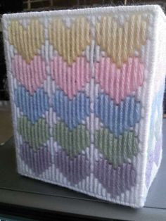 Hearts pastel tissue cover by CunninghamCrafts on Etsy Plastic Canvas Stitches, Plastic Canvas Tissue Boxes, Plastic Canvas Crafts, Plastic Canvas Patterns, Needlepoint Stitches, Embroidery Stitches, Embroidery Patterns, Cross Stitch Patterns, Tissue Box Crafts