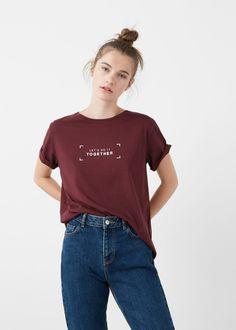Camiseta algodón mensaje - Camisetas de Mujer   MANGO España