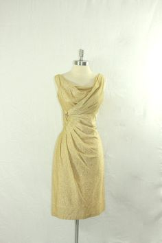 1960's Metallic Mid Century Mod Dress  by VintageFrocksOfFancy, $290.00