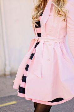 Cute Pink Trench fashion moda roupa look looks mulher women style estilo Pink Fashion, Fashion Beauty, Womens Fashion, Fashion Spring, Stripes Fashion, Fashion News, Dress Me Up, Pink Dress, Estilo Lady Like