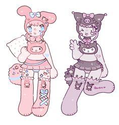sleepy sanrio adopts by RavensRamen on DeviantArt Chibi Girl Drawings, Kawaii Drawings, Art Drawings Sketches, Cute Drawings, Art Inspiration Drawing, Character Design Inspiration, Art Inspo, Cute Art Styles, Cartoon Art Styles