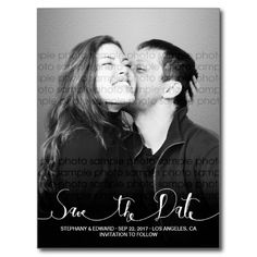 Stylish Modern Script Save the Date Photo Postcard