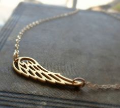 Wing Necklace, angel wing, bird wing necklace, gold fill, layering necklace, everyday jewelry, on Etsy, $33.78 CAD