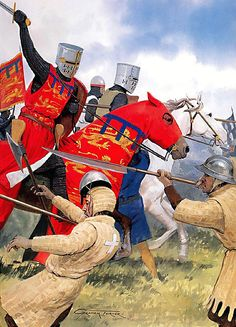 """14th May 1264 - The charge of Prince Edward's cavalry routs the Londoners at the battle of Lewes. One of two main battles of the conflict known as the Second Barons' War. It took place at Lewes in Sussex. It marked the high point of the career of Simon de Montfort, 6th Earl of Leicester, and made him the """"uncrowned King of England""""."""
