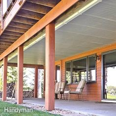 <p>Convert the space under a second-story deck into a dry, spacious patio by installing this simple, under-the-deck roof and gutter system.</p> #roofinstallationspaces