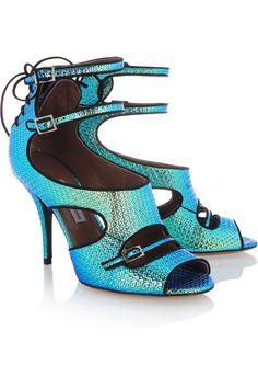 Tabitha Simmons|LB iridescent leather sandals|NET-A-PORTER.COM