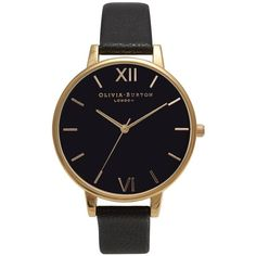 Women's Olivia Burton 'Big Dial' Leather Strap Watch, 38Mm ($125) ❤ liked on Polyvore featuring jewelry, watches, accessories, bracelets, relógio, thin dial watches, bezel watches, thin watches, leather strap watches and thin wrist watch