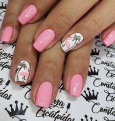 Want some ideas for wedding nail polish designs? This article is a collection of our favorite nail polish designs for your special day. Summer Gel Nails, Cute Summer Nails, Summer Beach Nails, French Pedicure, French Nails, Nails Kylie Jenner, Cute Summer Nail Designs, Tropical Nail Designs, Tropical Nail Art