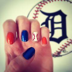 Baseball Nails. Detroit Tiger Nails.