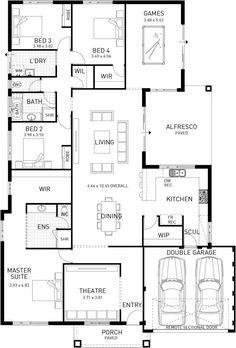Modena, Single Storey Home Design Master Floor Plan, WA - Haus Mittel Floor Plan 4 Bedroom, 4 Bedroom House Plans, House Floor Plans, Bungalow Floor Plans, Kitchen Floor Plans, The Plan, How To Plan, House Layout Design, House Layouts