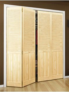 Bifold 1 in Solid Wood Louver over Panel Bifold 4 door by Dyke Ind