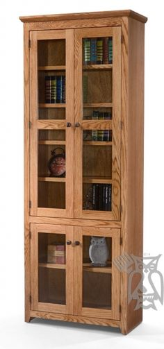 Personalize this Oak Shaker Bookcase with Glass Doors