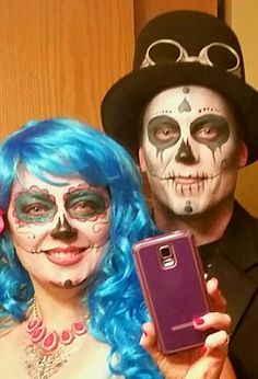 Day of the dead sugar skull face painting makeup for a Halloween costume.