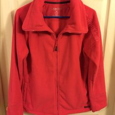 ✨BUNDLED✨ Calvin Klein Performance fleece jacket LIKE NEW WITHOUT TAGS!! - I mayyy have worn it once - FANTASTIC condition! - very warm! - beautiful dark coral color - smartphone pocket & headphone access - no thumb holes :(  - make an offer   Calvin Klein Performance Jackets & Coats