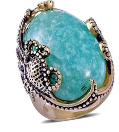 Russian Amazonite,YG and Stainless Steel Octopus Ring Size 8 35.000 carats. #Unbranded #Solitaire #any