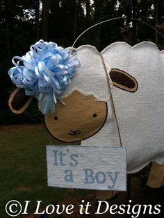 Lamb Burlap Door Hanger
