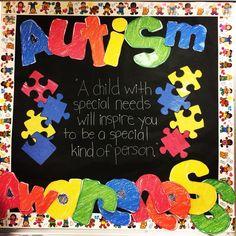 Bulletin board for autism awareness month. Letters from teacherspayteachers.com