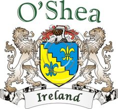 O'Shea coat of arms. Irish coat of arms for the surname O'Shea from Ireland. View your coat of arms at http://www.theirishrose.com/#top_banner or view the O'Shea Family History page at http://www.theirishrose.com/pages.php?pageid=43