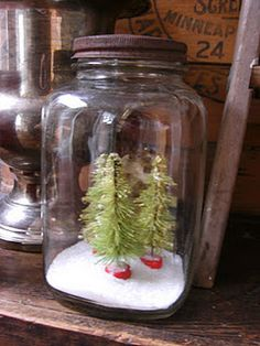 Old Jar...with Christmas trees and snow.