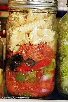 Mason Jar Pasta Salad- 2 oz Italian dressing 1/4 Cup Onions, chopped 1/2 Green pepper, chopped 1/2 Red pepper, chopped 1/4 Cup Black Olives, sliced Pepperoni to your liking 2 oz Cooked pasta, drained-cook al dente and rinse with cold water after draining.