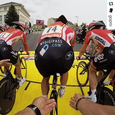 #Repost @gopro with @repostapp.  And they're off! Team @lotto_soudal is off for time trials @letourdefrance #TDF2015 #Tourdefrance #GoPro (Shot by GoPro Production Team member @kylecamerer) Ready? Go! Take awesome videos thanks to our patended system. #armorx