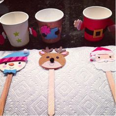 Holiday Cup Puppets  All you need are a few supplies (Popsicle sticks, Dixie cups, and construction paper) to make these cute cup puppets come to life.