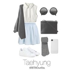 A fashion look from February 2016 featuring maurices tights, adidas sneakers and BCBGMAXAZRIA shoulder bags. Browse and shop related looks. Korean Fashion Kpop, Kpop Fashion Outfits, Korean Outfits, Casual Outfits, Look Fashion, Teen Fashion, Womens Fashion, Classy Fashion, Petite Fashion