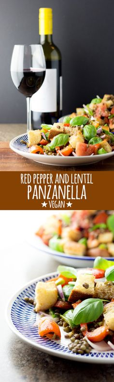 A simple and delicious panzanella salad with green lentils, mixed peppers and tomatoes dressed with a light and bright red wine vinaigrette. #vegan #vegetarian #dairyfree #eggfree #nutfree #salad #italian #panzanella #peppers #capsicums #lentils