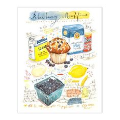"""Blueberry muffin recipe print. Archival giclee reproduction print from watercolor illustration. Signed with pencil. Printed on fine art """" BFK Rives """" hot-pressed paper, smooth surface, 140 lb, 100% co"""