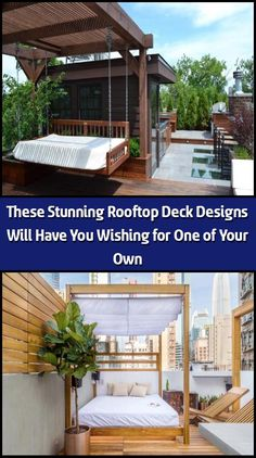 The most common place to find a rooftop deck is in the city, where lack of space lends itself to building up. However, their unprecedented views make rooftop de Outdoor Dining, Outdoor Decor, Rooftop Deck, Deck Design, Lounge Areas, Building Design, Great Places, Decks, Pergola